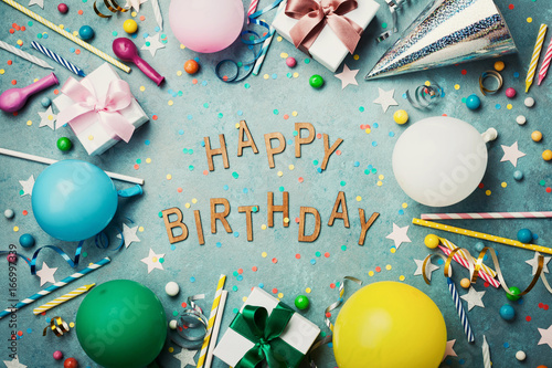 Happy Birthday Background Or Greeting Card Colorful Festive Decoration On Turquoise Vintage Table Top View