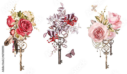 Cadres-photo bureau Papillons dans Grunge Set watercolor illustration with roses and other flowers, berry, keys and feathers. Tribal background with flowers, jewelry, butterfly. Cool print on T-shirt, Tattoo. Vintage