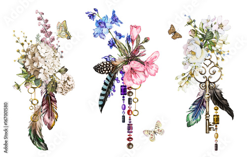 Fotobehang Vlinders in Grunge Set watercolor illustration with roses and other flowers, keys and feathers. Tribal background with flowers, jewelry, butterfly. Cool print on T-shirt, wildflowers, Tattoo. Vintage
