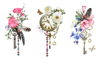NaklejkaSet watercolor illustration with roses and wildflowers, keys, clock and feathers. Tribal background with flowers, jewelry, butterfly. Cool print on T-shirt, Tattoo. Vintage