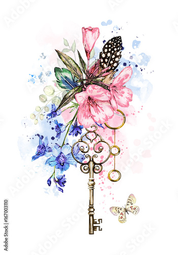 Watercolor Illustration With Flowers Keys And Feathers Tribal