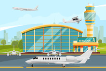 Modern Building Of Airport Terminal With Control Tower. Runway With Planes