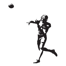 American Football Player Throwing Ball, Abstract Vector Silhouette