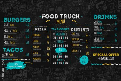Fototapeta Junk Food festival menu template, street restaurant brochure cover. Modern truck flyer with hand-drawn lettering and items. Vector menu board. obraz