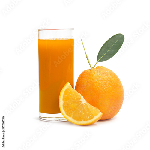 Foto op Canvas Sap Navel Orange Isolated on White Background