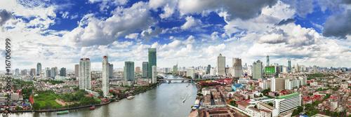 Poster Bangkok Panorama Bangkok city skyline and the Chao Phraya river, City scape and the river