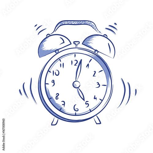 Vector doodle icon alarm clock Canvas Print