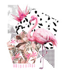 Tropical summer geometric poster design. Triangles and circle with grunge textures. Watercolor pink bird - flamingo. Exotic Abstract background, vintage. Hand painted illustration. doodles retro - 167009357