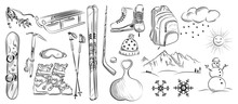 Icon Set Of Winter Objects: Ho...