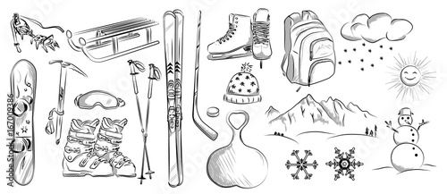 Fotografía  Icon set of winter objects: hockey, skates, ski, sleds, backpack, snowboard