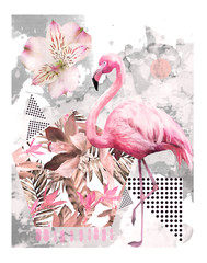 Panel Szklany Ptaki Tropical summer geometric poster design. Triangles and circle with grunge textures. Watercolor pink bird - flamingo. Exotic Abstract background, vintage. Hand painted illustration. doodles retro