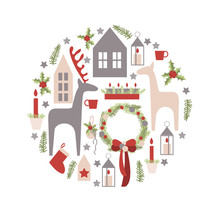 Christmas Card.Vector Illustra...