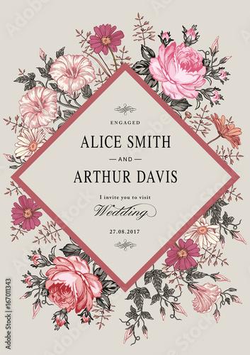 Wedding marriage invitation. Beautiful blooming flowers. Vintage ...