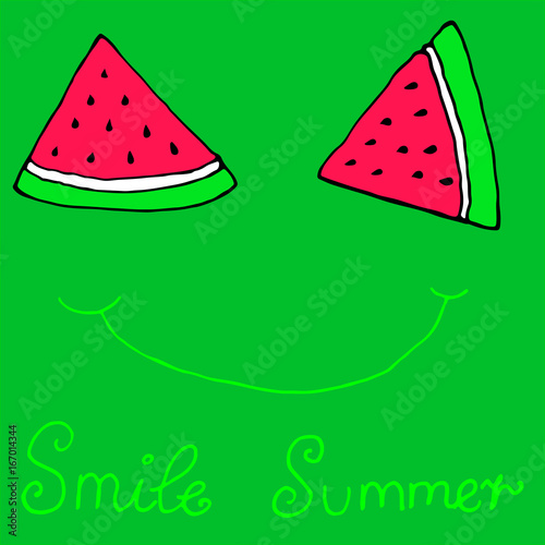 Poster Retro sign Cute sliced slices watermelon smile,winking, isolated green background