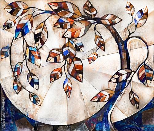 obraz olejny na płótnie, stylizowane drzewo. Nowoczesna grafika. ilustracja wnętrza. Abstrakcyjne tło