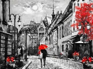 Fototapeta Uliczki oil painting on canvas european city. Hungary. street view of Budapest. Artwork. people under a red umbrella. Tree. Nigrht and moon.