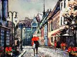 obraz olejny na płótnie miasto europejskie. Węgry. widok ulicy Budapesztu. Grafika ludzie pod czerwonym parasolem. Drzewo.. - 167016716