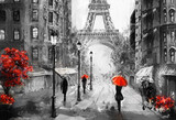 Fototapeta Eiffel Tower - oil painting on canvas, street view of Paris. Artwork. eiffel tower . people under a red umbrella. Tree. France