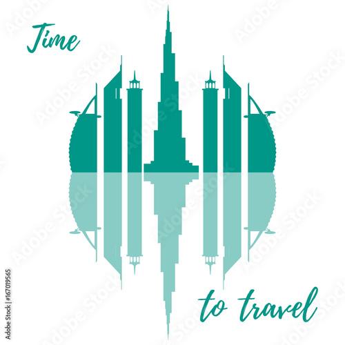 Photo  Vector illustration of United Arab Emirates skyscrapers silhouette