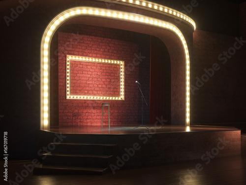 Photo  Dark empty stage with microphone. 3d render