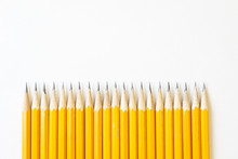 Multiple Yellow #2 Lead Or Graphite Pencils With White Background