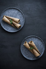Empty Ice Cream Cones On A Plate, On A Gray Slate Background