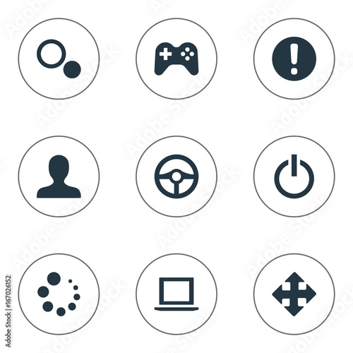 Fototapeta Vector Illustration Set Of Simple Game Icons. Elements Profile Picture, Circles, Shut Down And Other Synonyms Circles, Arrow And Steering. obraz na płótnie
