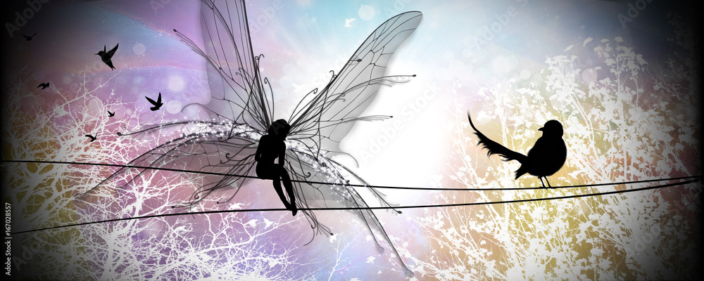 Real fairy in our world silhouette art photo manipulation