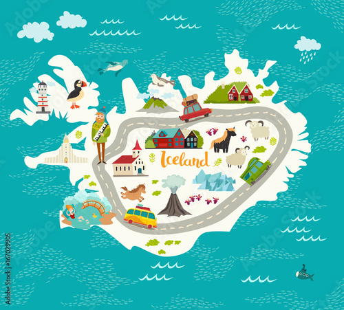 Photo Iceland map vector illustration