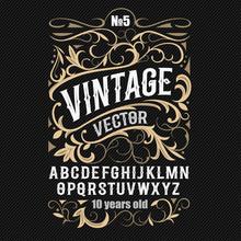 Vintage Label Font. Alcohol La...