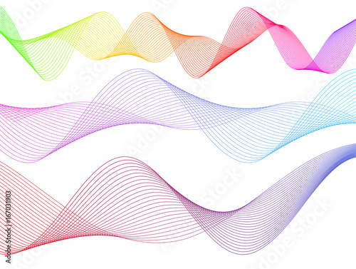 Design element wavy ribbon from many parallel lines44 Wallpaper Mural
