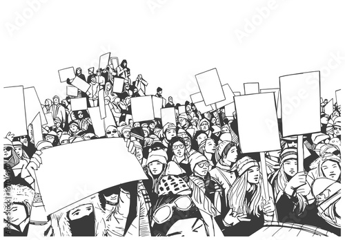 Illustration of high school students protesting with blank signs Canvas Print
