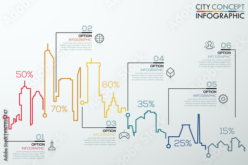 Photo  Modern infographic option banner with colorful city bar chart