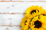 Yellow Sunflower Bouquet on White Rustic Background