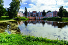 View On Marfino Palace In Moscow Region And Park. Antique Mansion 18 Century In Baroque Style.Summer Landscape With Manor, Park And Pond. Summertime Garden And River For Prints, Posters, Design.