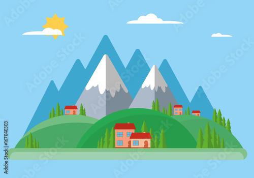 Printed kitchen splashbacks Light blue Rural and urban summer landscape