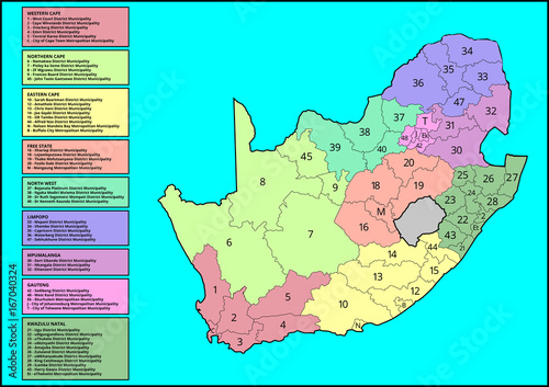 Vector South African Map, District Municipalities and Provinces