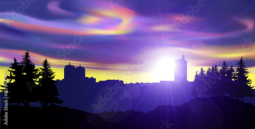 Spoed Foto op Canvas Violet Night landscape of city and pine forest. Colorful northern lights.