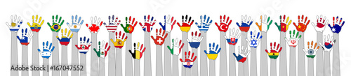 Valokuva world flags with hands