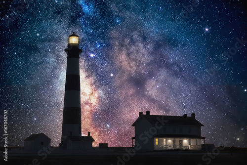 milkyway core over lighthouse, outer banks north carolina