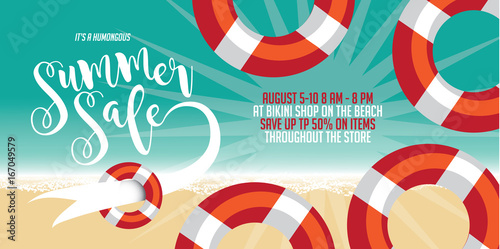 summer sale pool float poster flyer marketing or banner background template with fun pool floats