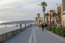 Mission Beach Ocean Front Boardwalk, Summer Sunset, San Diego, California, USA
