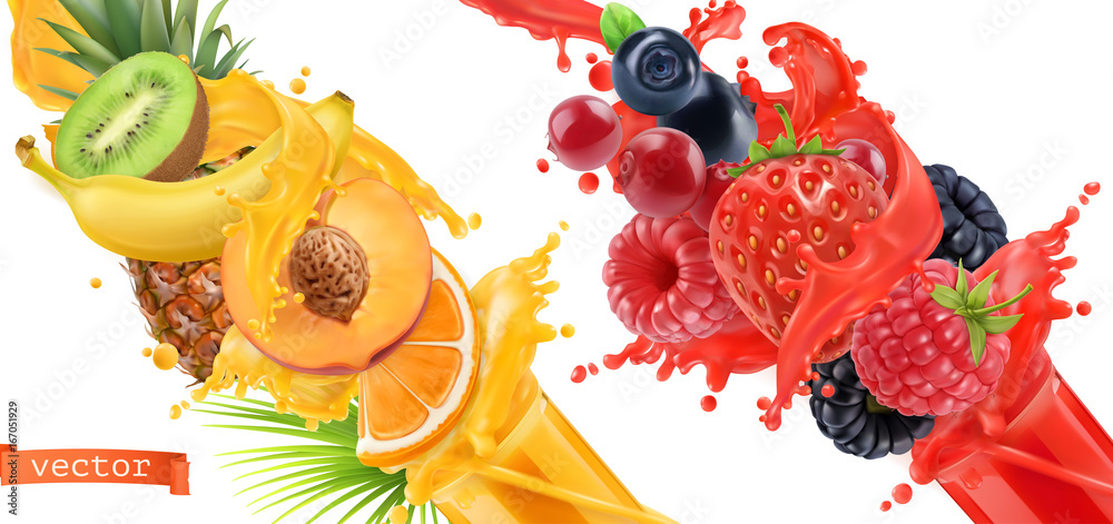 Fototapeta Fruit burst. Splash of juice. Sweet tropical fruits and mixed forest berries. 3d realistic vector icon set