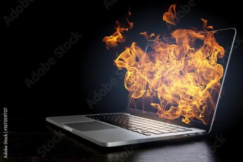 Fotografiet  Laptop device damage. Mixed media