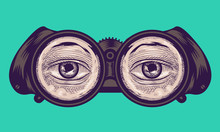 Eye Binoculars Cross Hatching