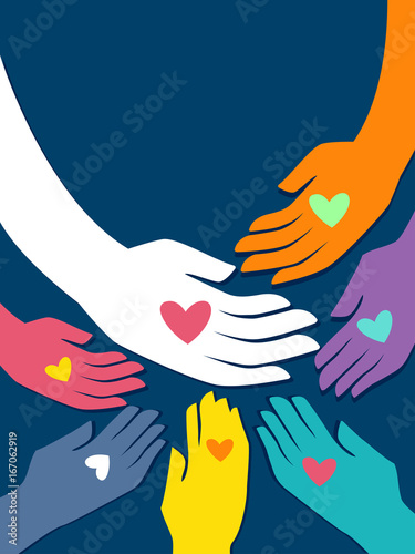 Fotografia Colorful Hands Give Heart