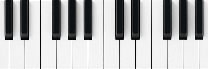 White and black piano keys background. 3D illustration