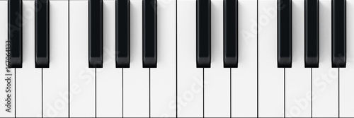 Fotografie, Obraz  White and black piano keys background. 3D illustration