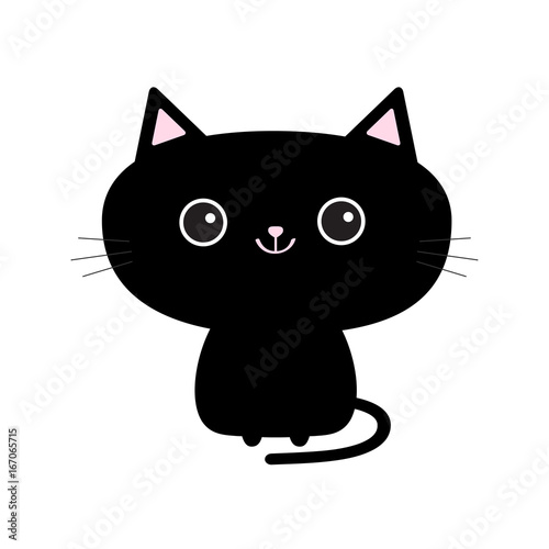 Cute black cat icon. Funny cartoon character. Kawaii animal. Tail, whisker, big eyes. Kitty kitten. Baby pet collection. White background. Isolated. Flat design. Wall mural