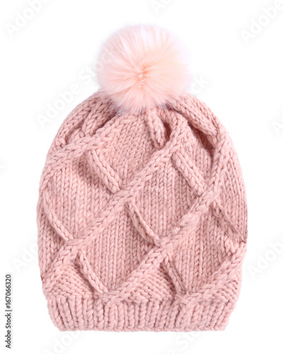 Fotografía  Pale pink winter knitted cap hat with a pom-pom isolated white
